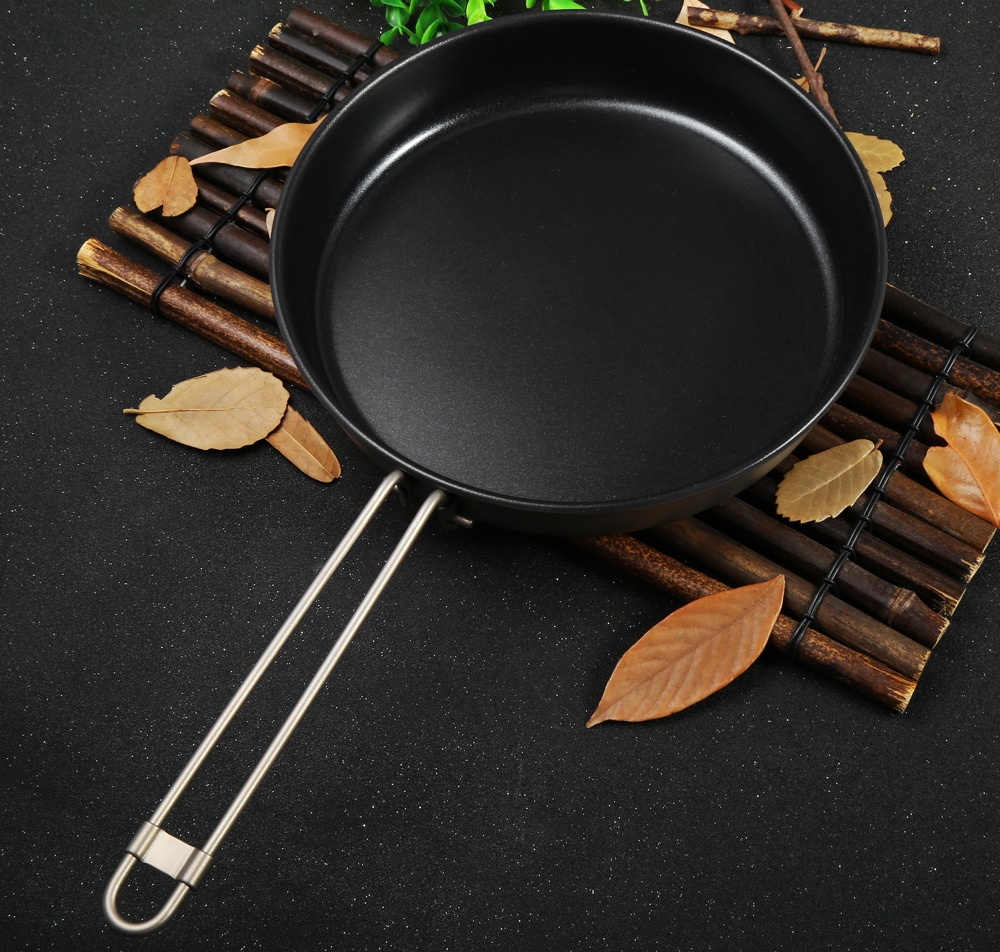Keith Ti8150 1L Non-stick Titanium Frying Pan with Folding Handle for Outdoor Camping
