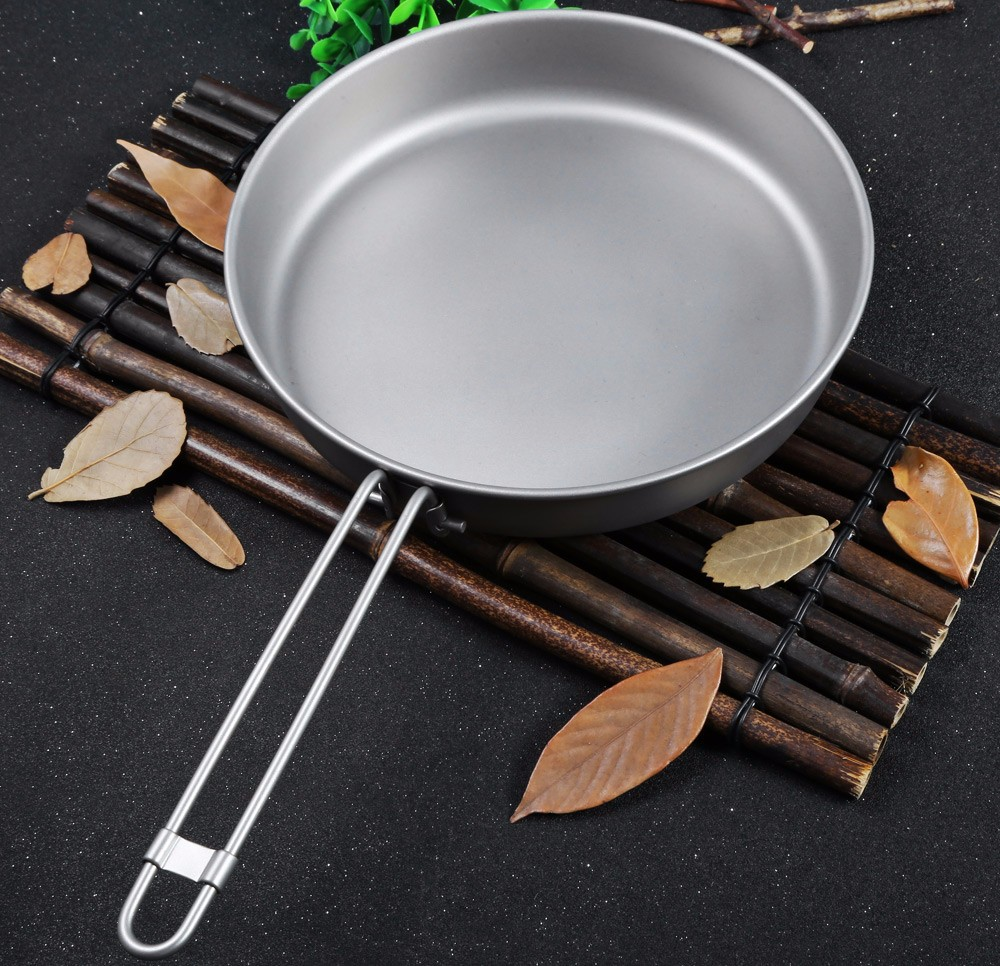 Keith Ti6034 1L Titanium Frying Pan with Folding Handle for Outdoor Camping