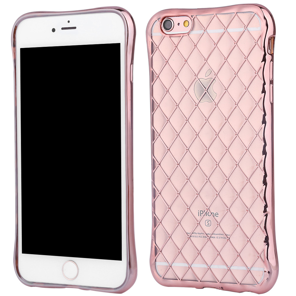 Protective Anti-shock Woven Back Cover Case for iPhone 6 / 6S Electroplated Frame