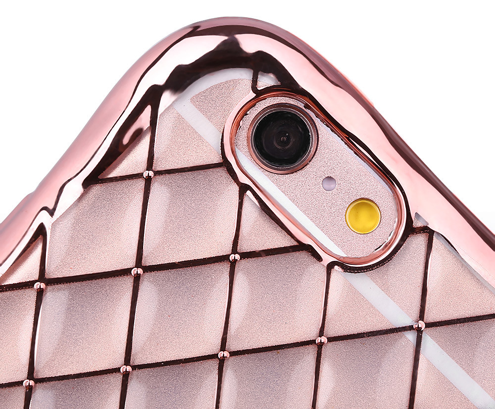Protective Anti-shock Woven Back Cover Case for iPhone 6 Plus / 6S Plus Electroplated Frame