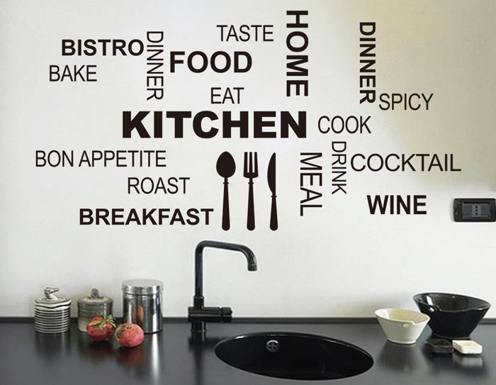 PVC Kitchen Cook Letter Style Wall Stickers Removable Water Resistant Home Art Decals