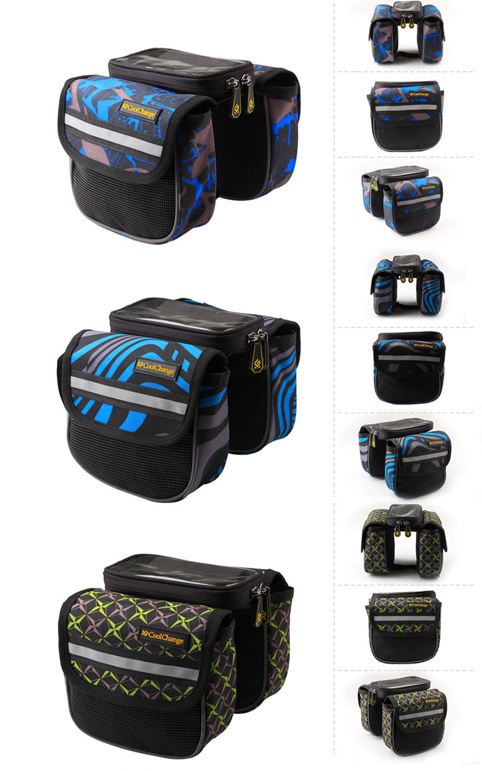 CoolChange 5.0 inches Bicycle Front Tube Bag Reflective Stripe Edge