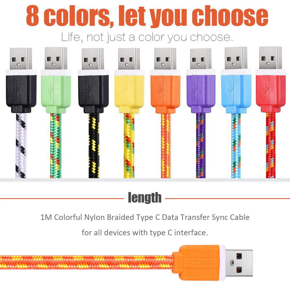 1M Type C Colorful Nylon Braided Transfer Data Sync Line Charging Cable