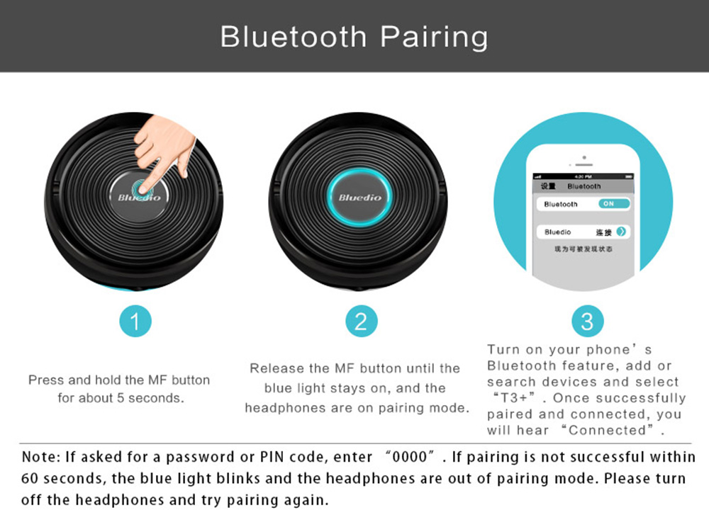 Bluedio T3 Plus Bluetooth Headphones with Mic 3.5mm Line-in Audio Jack Support Micro SD Card