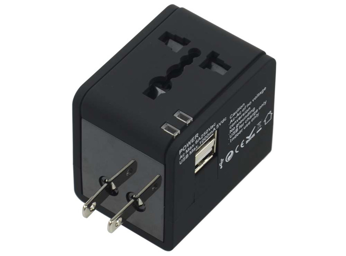 Universal Multiplug Global Travel Charger Adapter with Dual USB Output Ports