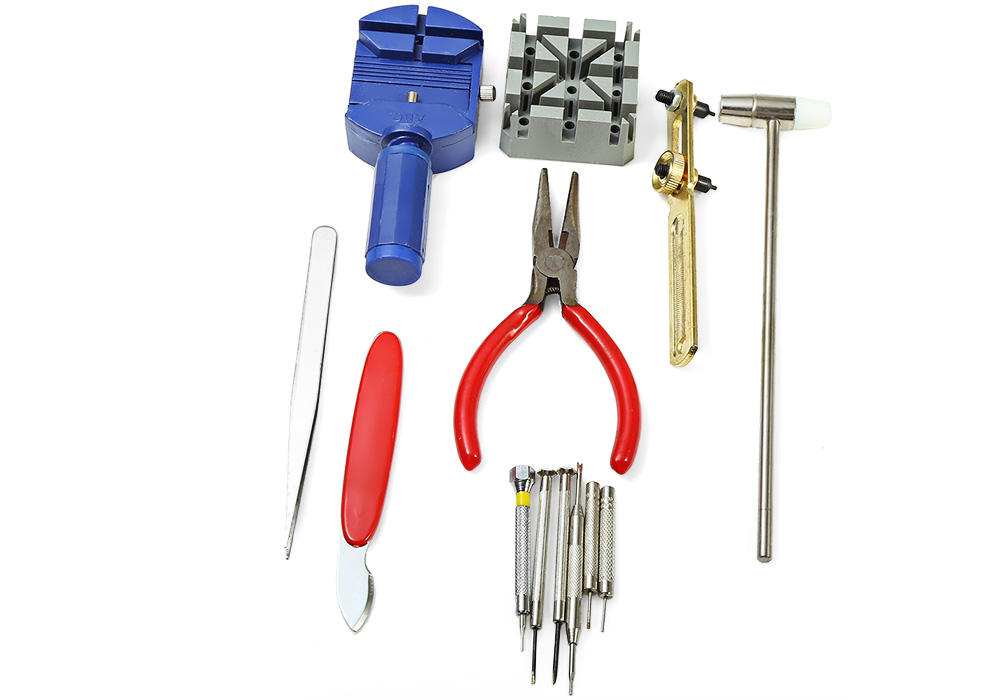 13pcs Watch Repair Kit Case Opener Link Pin Remover Hammer Plier Watchmaker