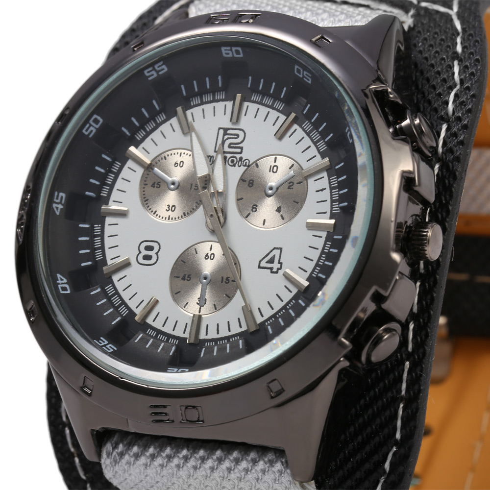 Weiqin 1048 Decorative Sub-dial Canvas + Leather Band Male Quartz Watch