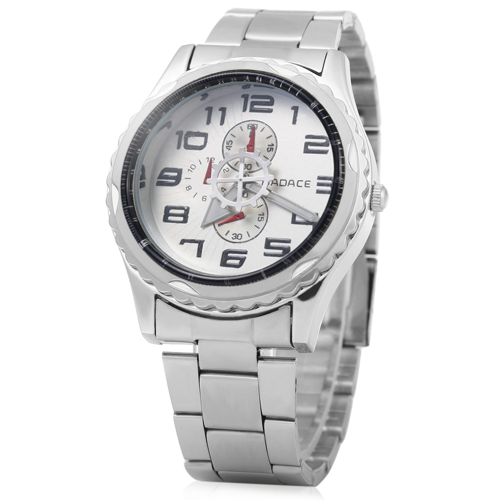 Badace 1067 Decorative Sub-dial Arabic Number Scale Stainless Steel Band Male Quartz Watch