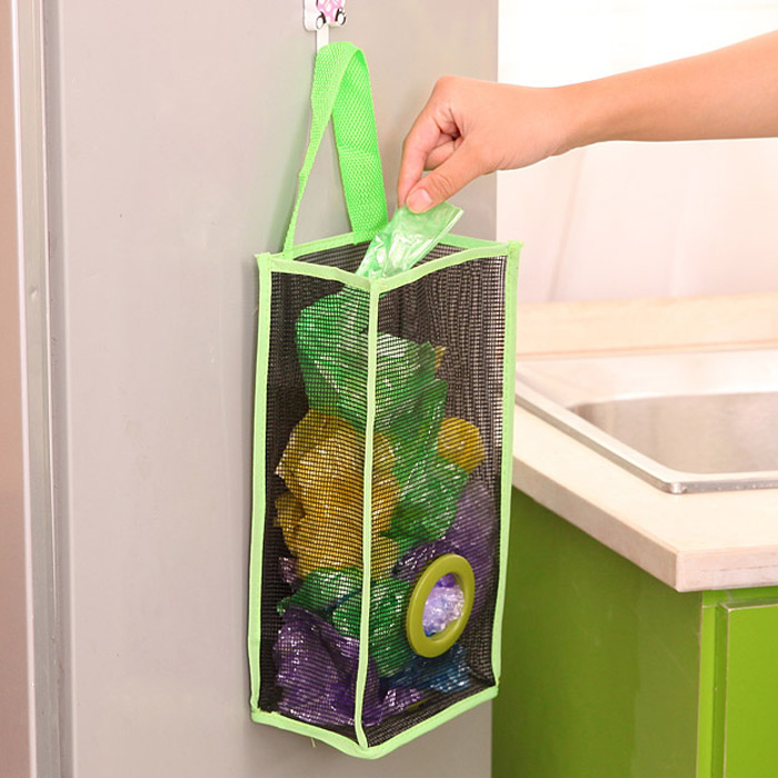 Breathable Mesh Hanging Type Garbage Bags Holder Extraction Receive Rack