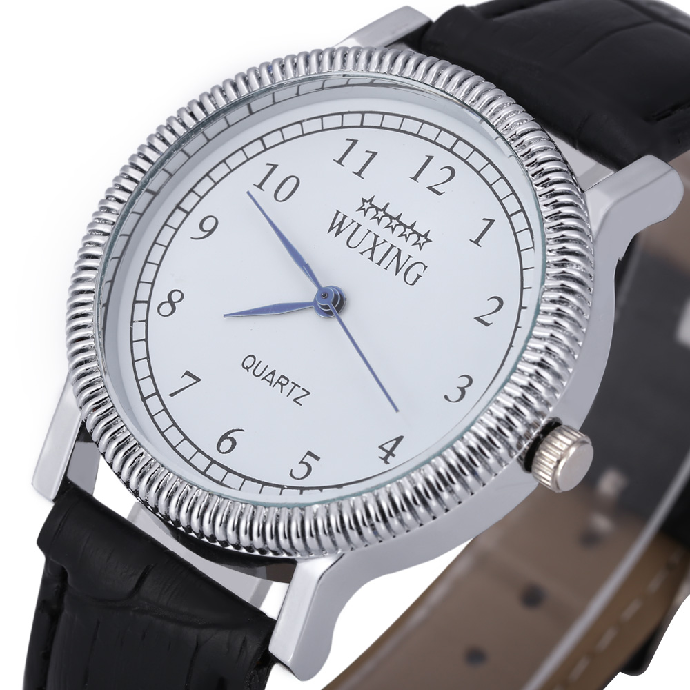 WUXING SG1271 Quartz Watch Arabic Number Scale Leather Band for Men