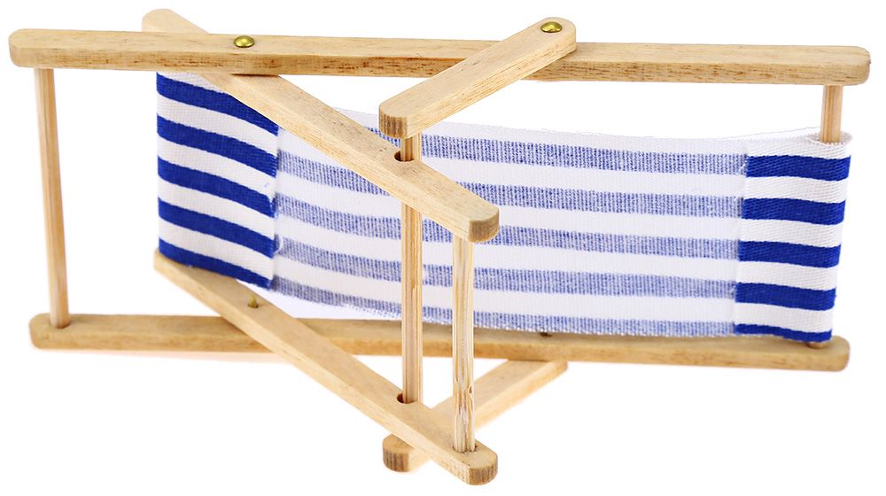 1/12 Miniature Foldable Wooden Deck Chair for Dolls House  Lounge Beach Chair
