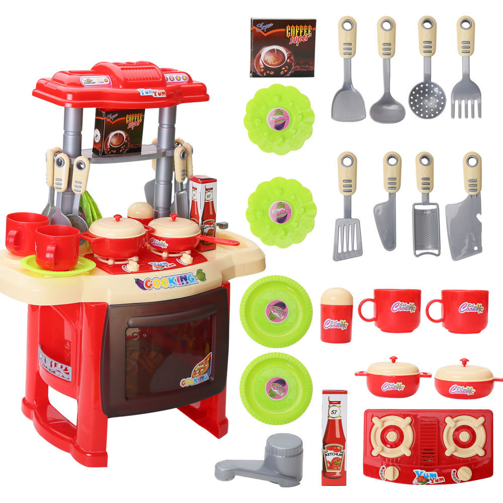 Kids Kitchen Cooking Pretend Role Play Toy Set with Light Sound Effect
