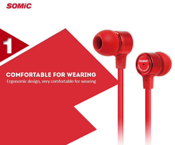 Somic MH403 Fashion Portable Super Bass Rich Sound Music In-ear Earphones Flat Cable