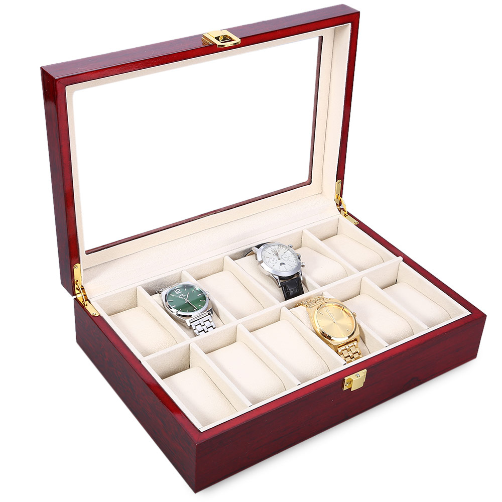 12 Slots Wood Watch Display Case Watches Box