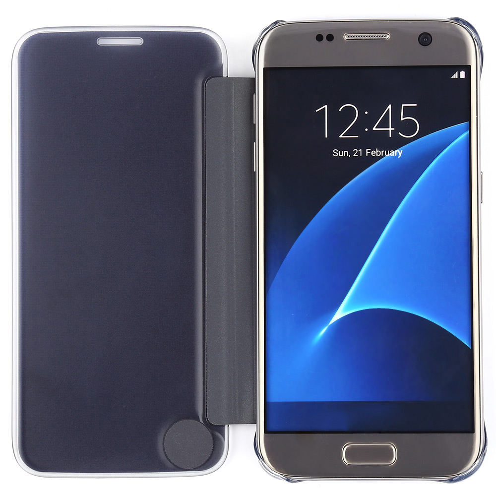 Smart Sleep Wake Protective Cover Case for Samsung Galaxy S7 Edge with Clear View Mirror Screen Flip