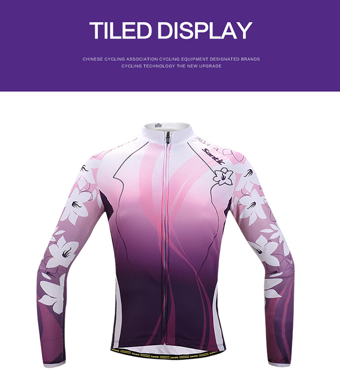 Santic Female Summer Cycling Long Sleeve T-Shirt Polyester Fiber Made Flower Design Riding Tops