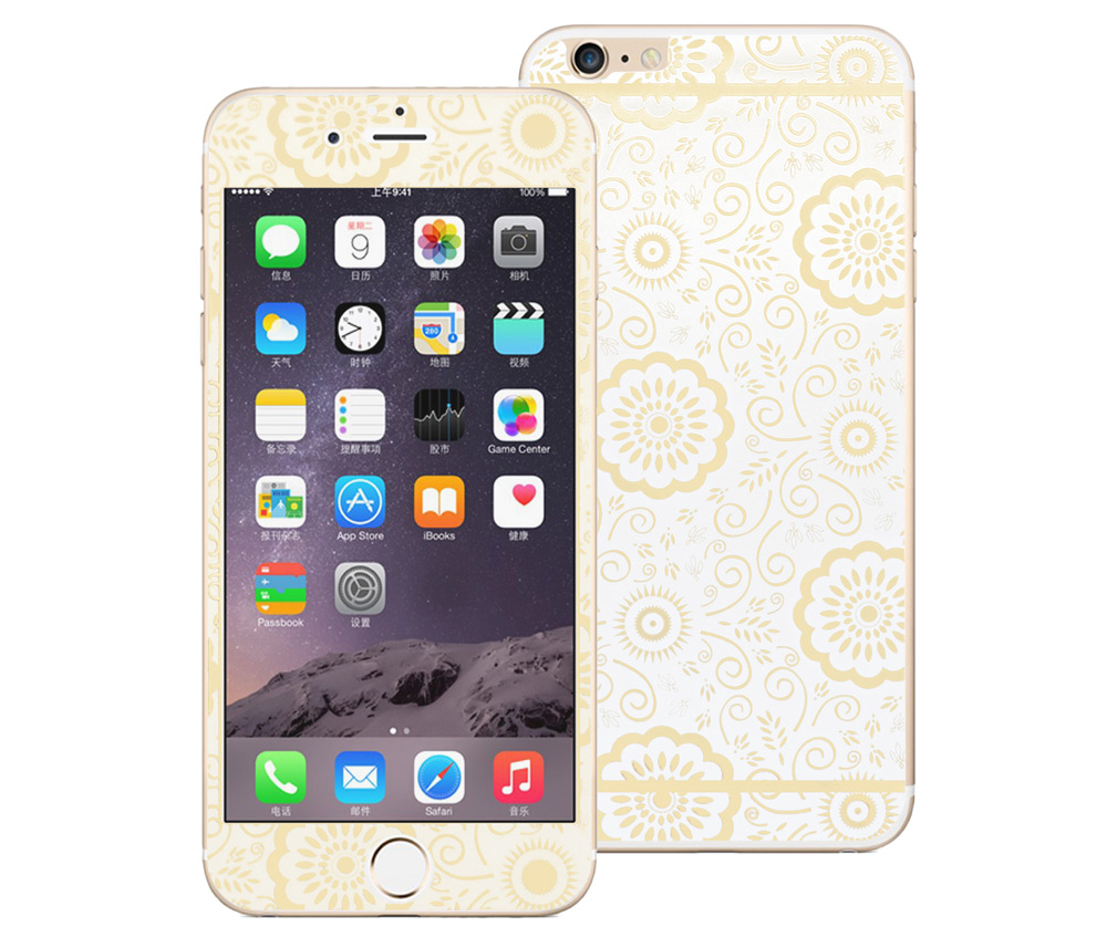Angibabe 2 in 1 Tempered Glass Screen Film Back Protector for iPhone 6 Plus / 6S Plus Electroplated Flower Pattern