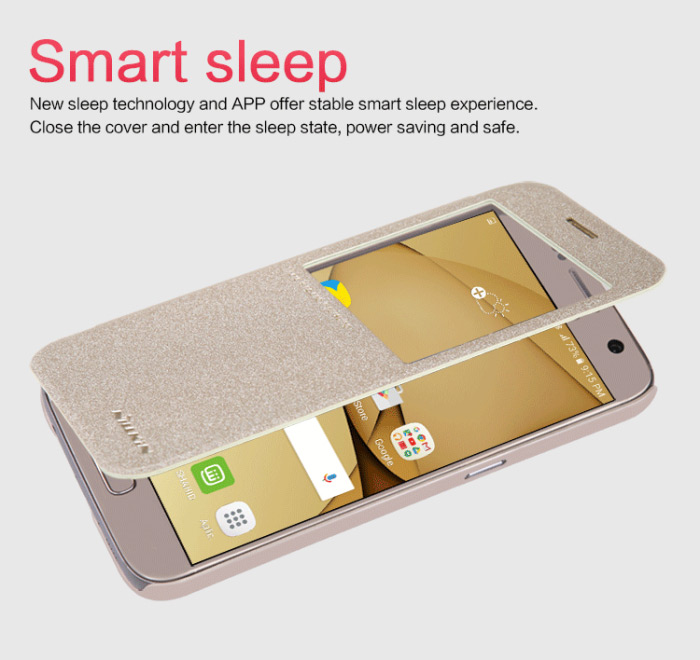 Nillkin Sparkle Series Full Cover Protective Case for Samsung Galaxy S7 PU Leather Mobile Protector with View Window Auto Sleep Function
