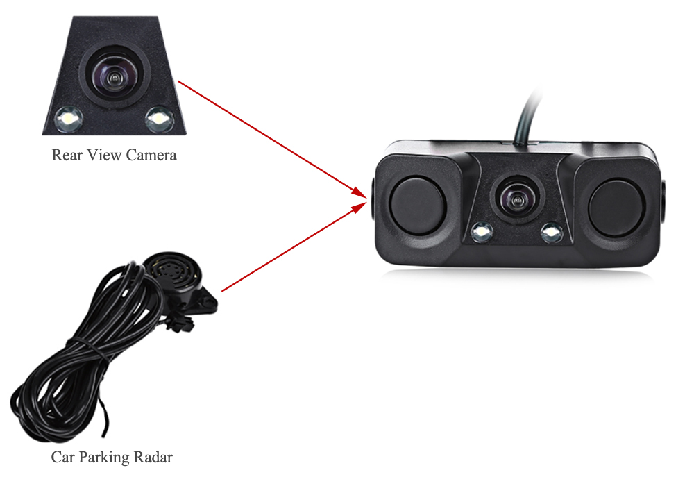 Car Parking Reversing Radar Rear View Backup Camera Universal with Buzzer Warning