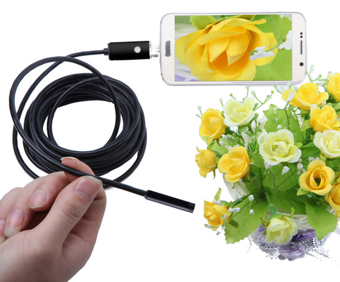 AN99-B2-7 2 in 1 Android PC 7mm Lens Endoscope Inspection Wire Camera IP67 Waterproof 2m
