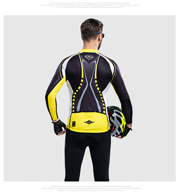 Santic WMCT039 Male Cycling Long Sleeves Suit 4D Stereo Cushion