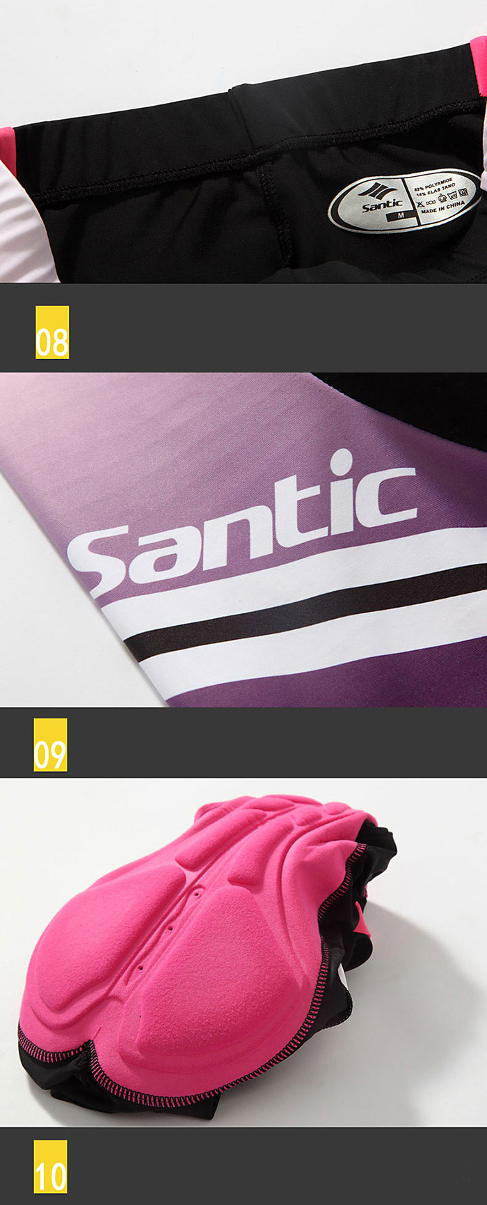 Santic LCT035 Female Cycling Short Sleeves Suit 4D Stereo Foam Cushion