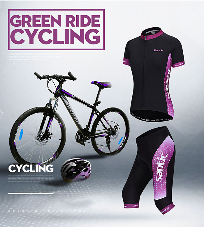 Santic LCT040 Female Cycling Short Sleeves 4D Stereo Cushion