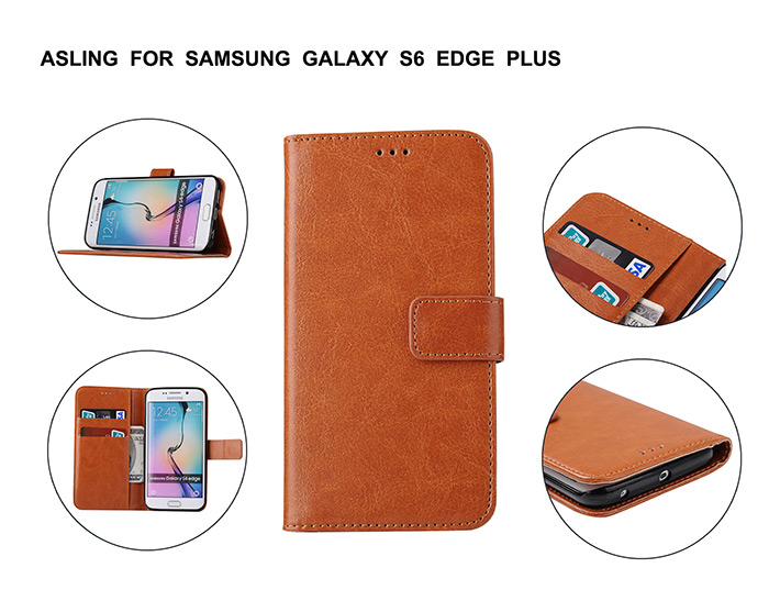 ASLING Crazy Horse Series PU Leather Full Body Protective Case for Samsung Galaxy S6 Edge Plus with Credit Card Slot Phone Stand Holder