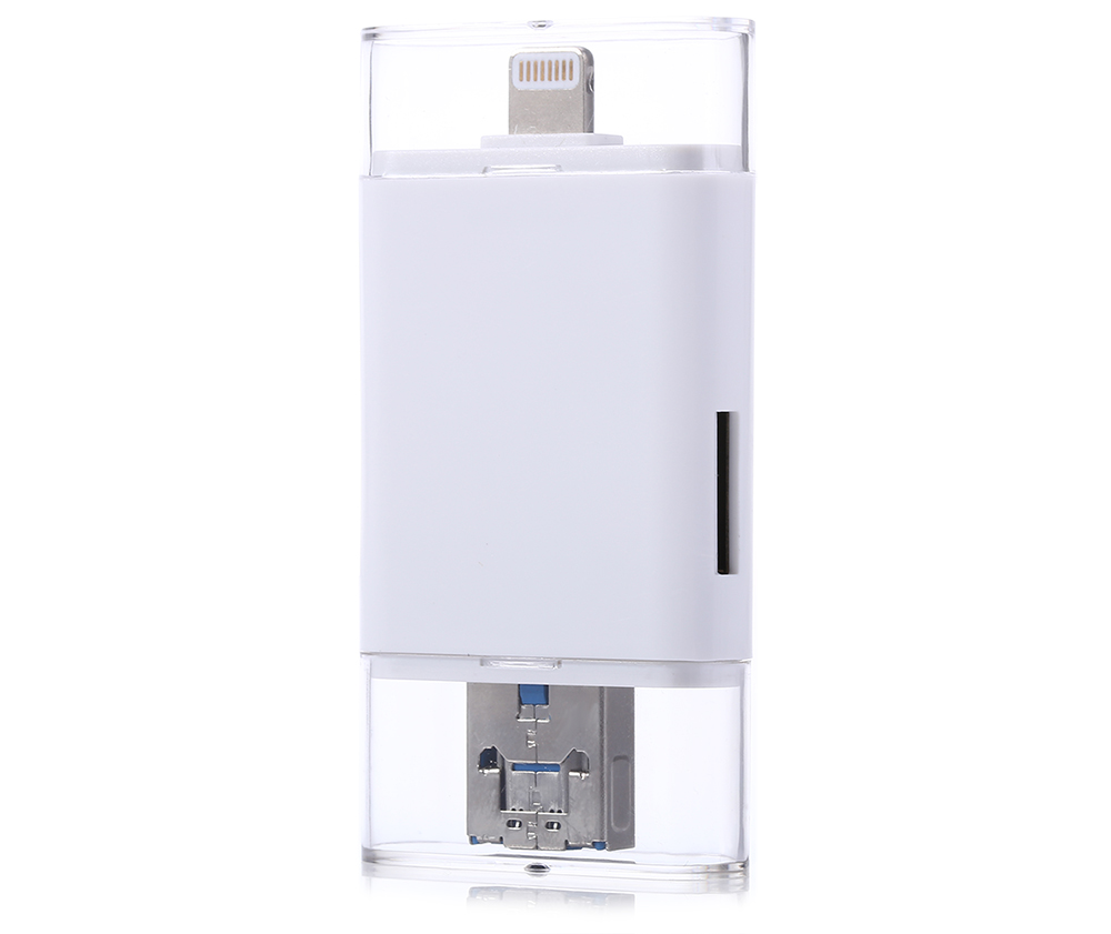 3 in 1 Compact 8 Pin to Micro USB Card Reader Support TF Card SD Card
