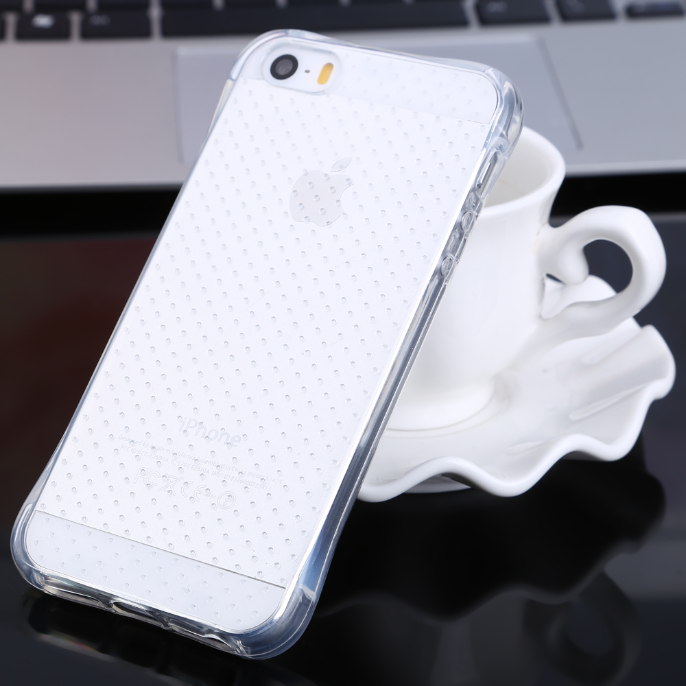 Transparent TPU Soft Case Protective Cover for iPhone 5 / 5S Salient Points Design