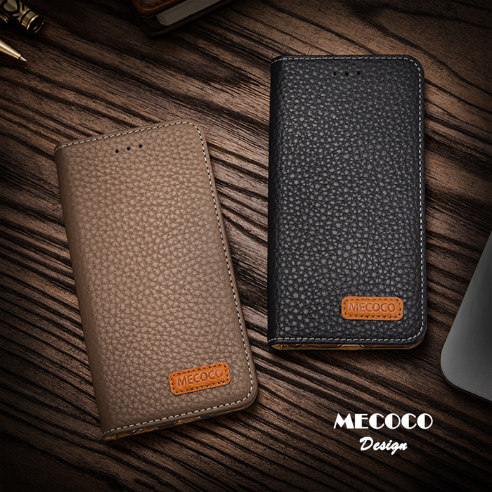 Mecoco Leather Protective Case for iPhone 6 / 6S Lichee Pattern Business Full Cover Mobile Protector