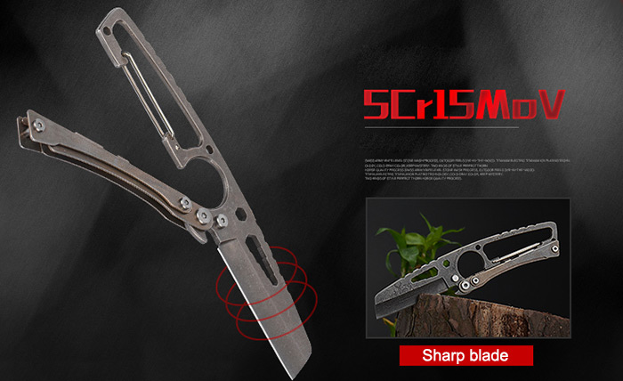 CIMA 5Cr15Mov Stainless Steel Outdoor Multifunctional Straight Knife with Buckle