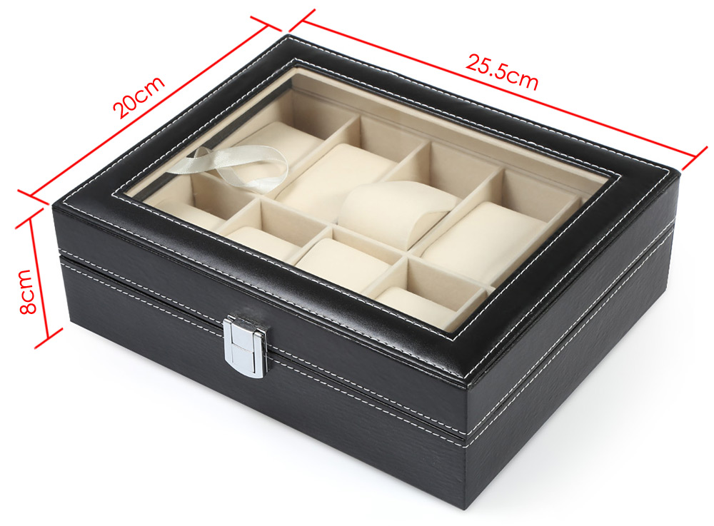 10 Grids PVC Leather Watch Case Jewelry Display Box