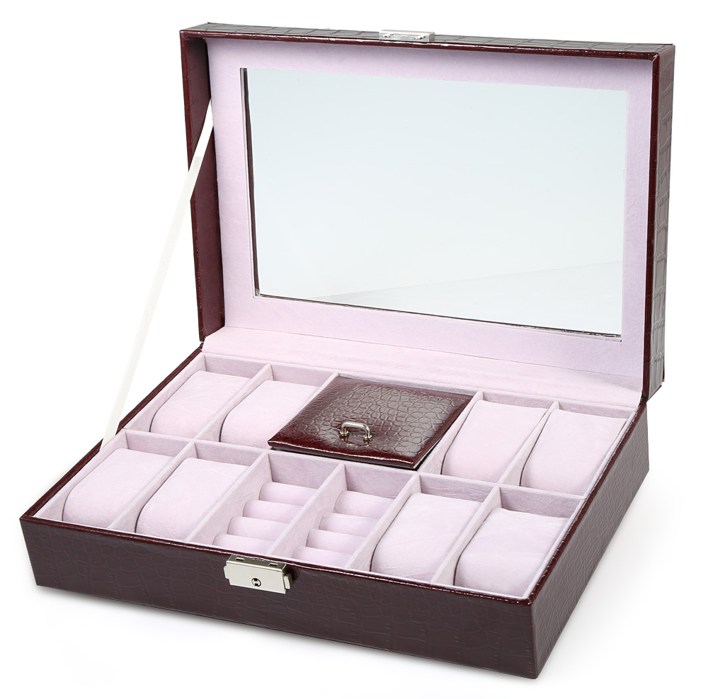 8 Grids with 3 Mixed Grids Watch Case PVC Leather Jewelry Storage Display Box