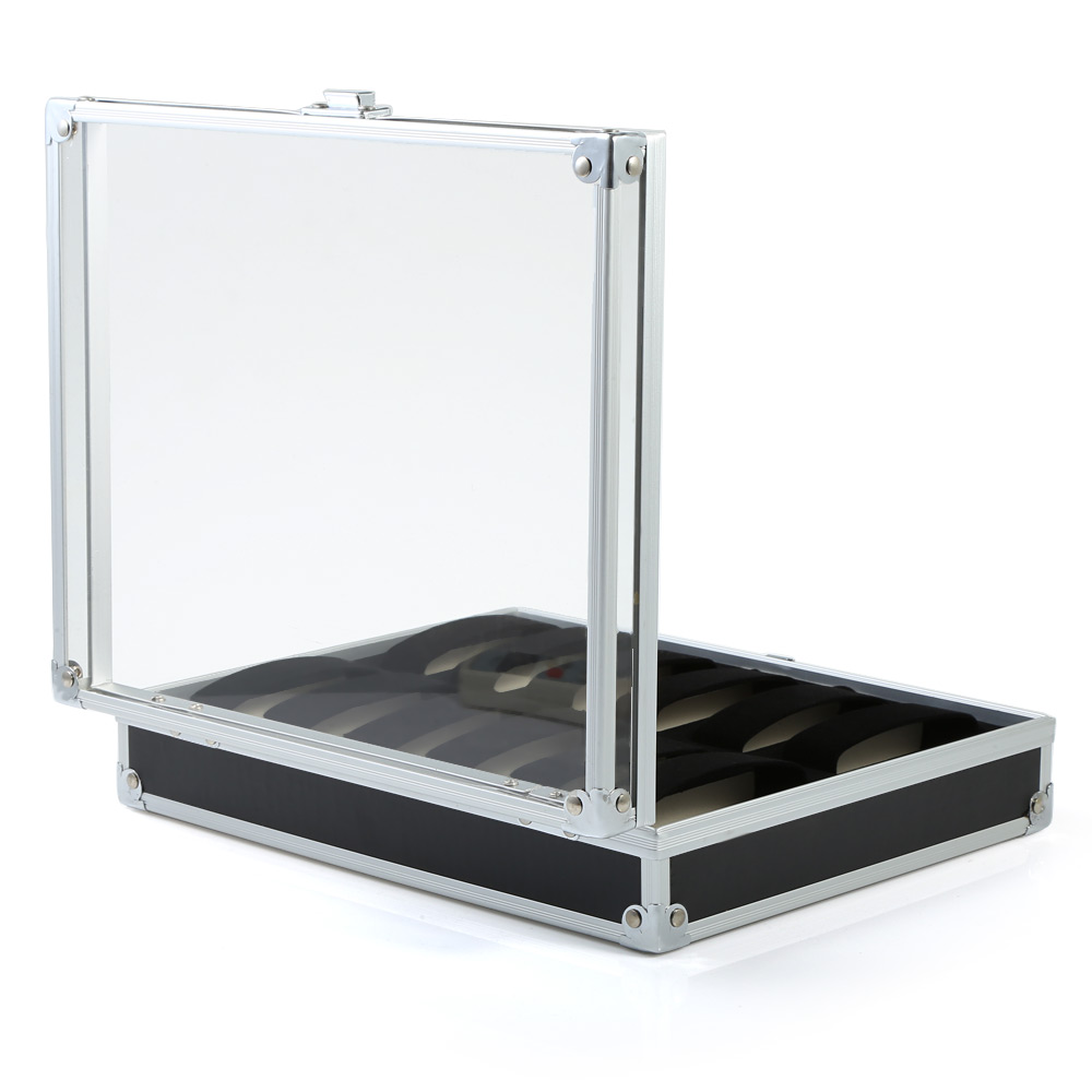 12 Grids Stainless Steel Watch Case Glass Cover Box Organizer