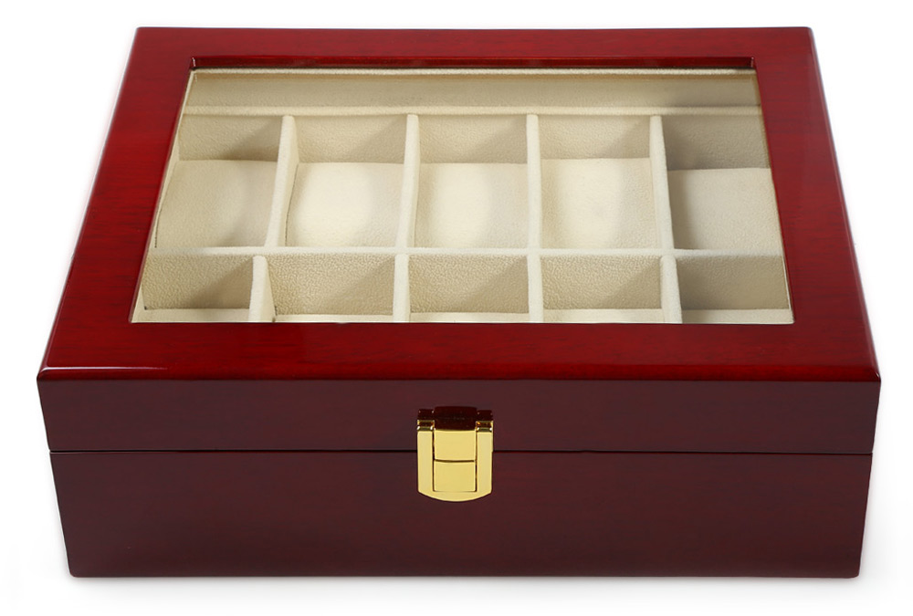 10 Grids Wooden Watch Case Glass Cover Box Organizer