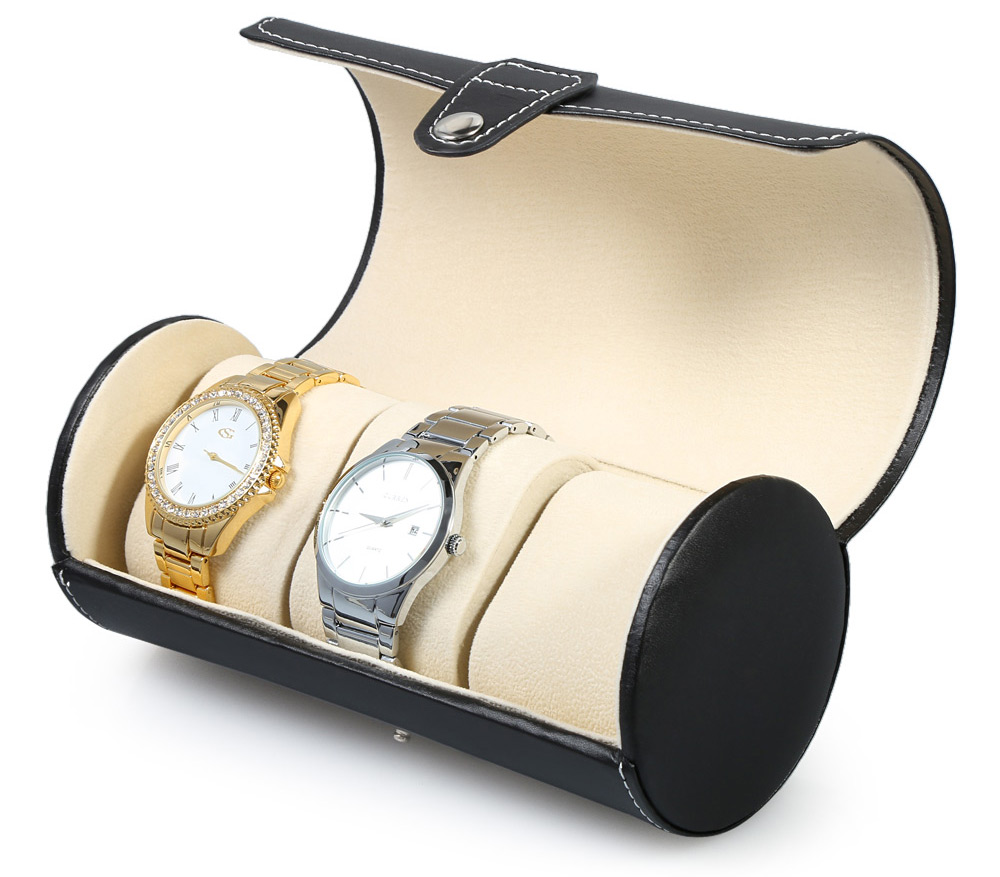 3 Grids PVC Leather Watch Case Clamshell-style Jewelry Display Box