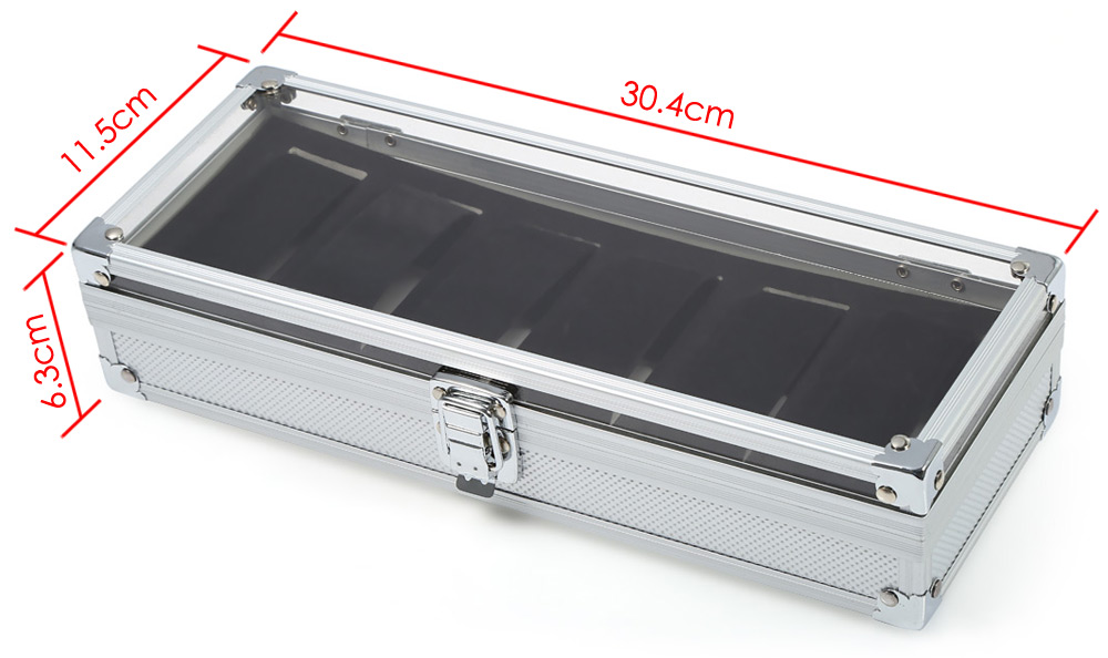 6 Grids Stainless Steel Watch Case Glass Cover Box Organizer