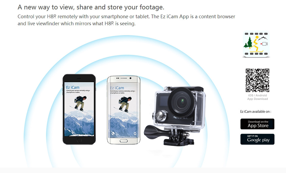 H8R 4K Ultra HD WiFi Action Sport Camera 170 Degree Wide Angle 2.0 inch Screen Sunplus 6350 Chipset with 2.4G Remote Controller