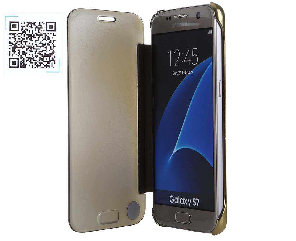 Practical Smart Auto Sleep Protective Cover Case for Samsung Galaxy S7 with Clear View Mirror Window