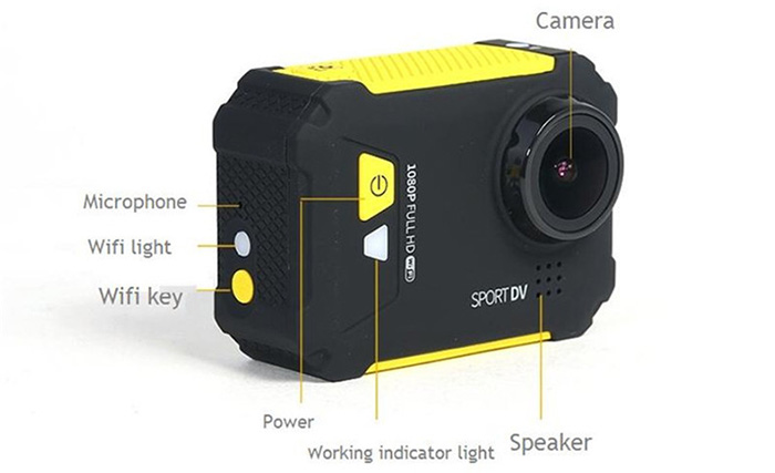 Original REMAX SD01 1080P Full HD 170 Degree Wide Angle 3.0MP WiFi Action Camera 1.5 inch LCD Screen G-Sensor Motion Detection with 16GB TF Card