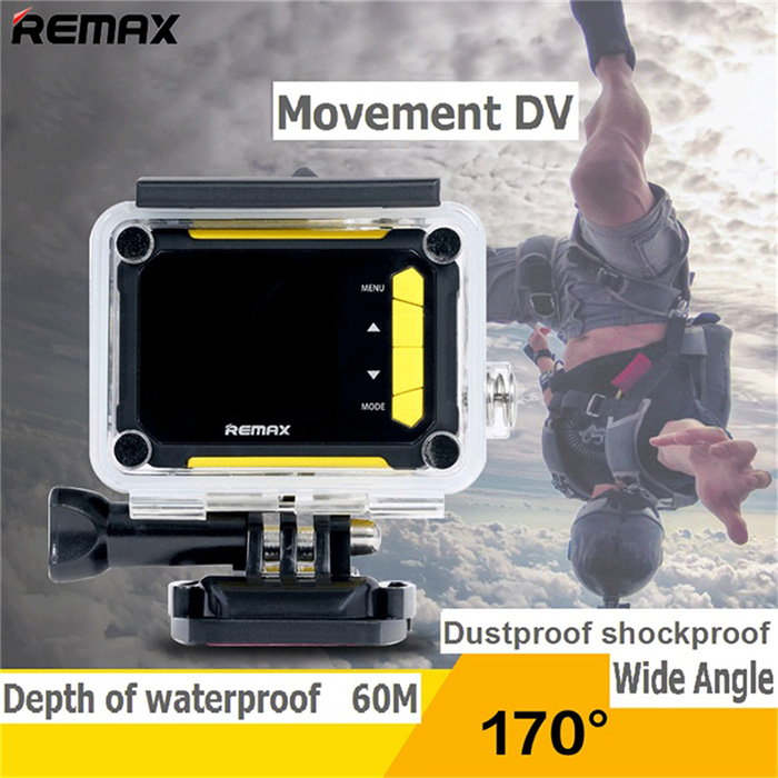 Original REMAX SD01 1080P Full HD 170 Degree Wide Angle 3.0MP WiFi Action Camera 1.5 inch LCD Screen G-Sensor Motion Detection