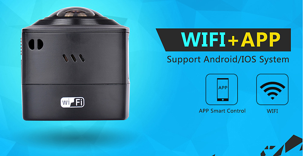 AMKOV AMK100S with Waterpfoor Case 8MP 360 Degree Full Visual Angle Omni-directional Imaging 1440P Action Sports Camera Recorder WiFi Function Loop Cycle Recording