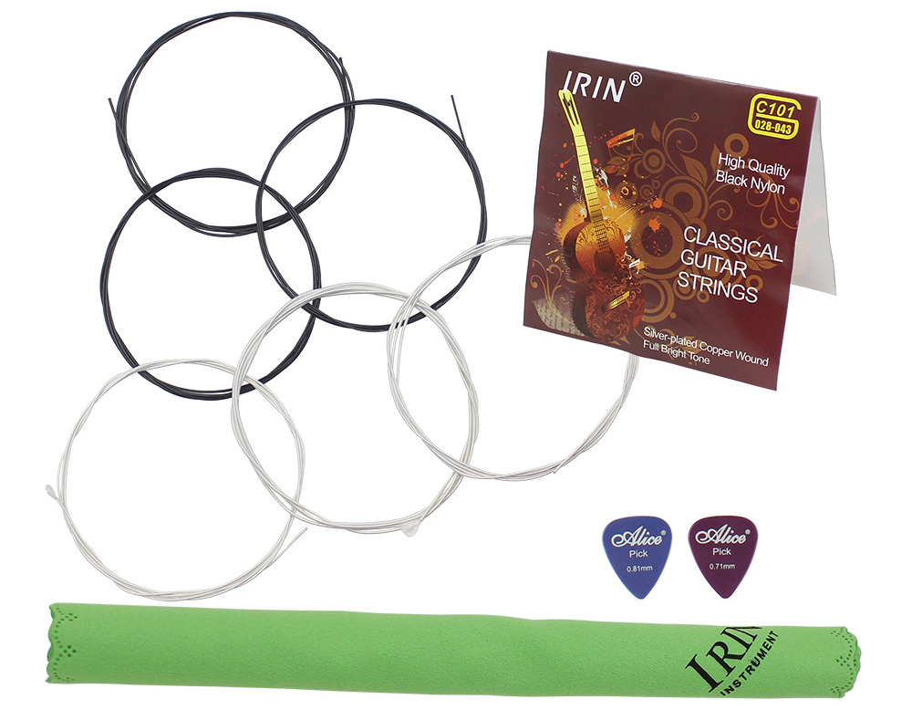 IRIN 3 in 1 Classical Guitar Accessory C101 Nylon String Cleaning Cloth Two Plectrum