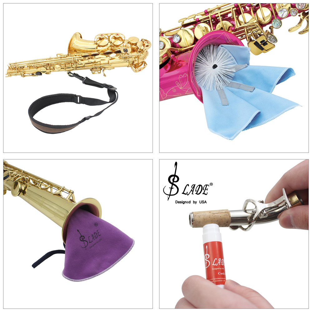 LEAD 5 in 1 Saxophone Accessory Kit with Belt Tube Neck Cleaning Swab Cork Grease Teeth Cushion