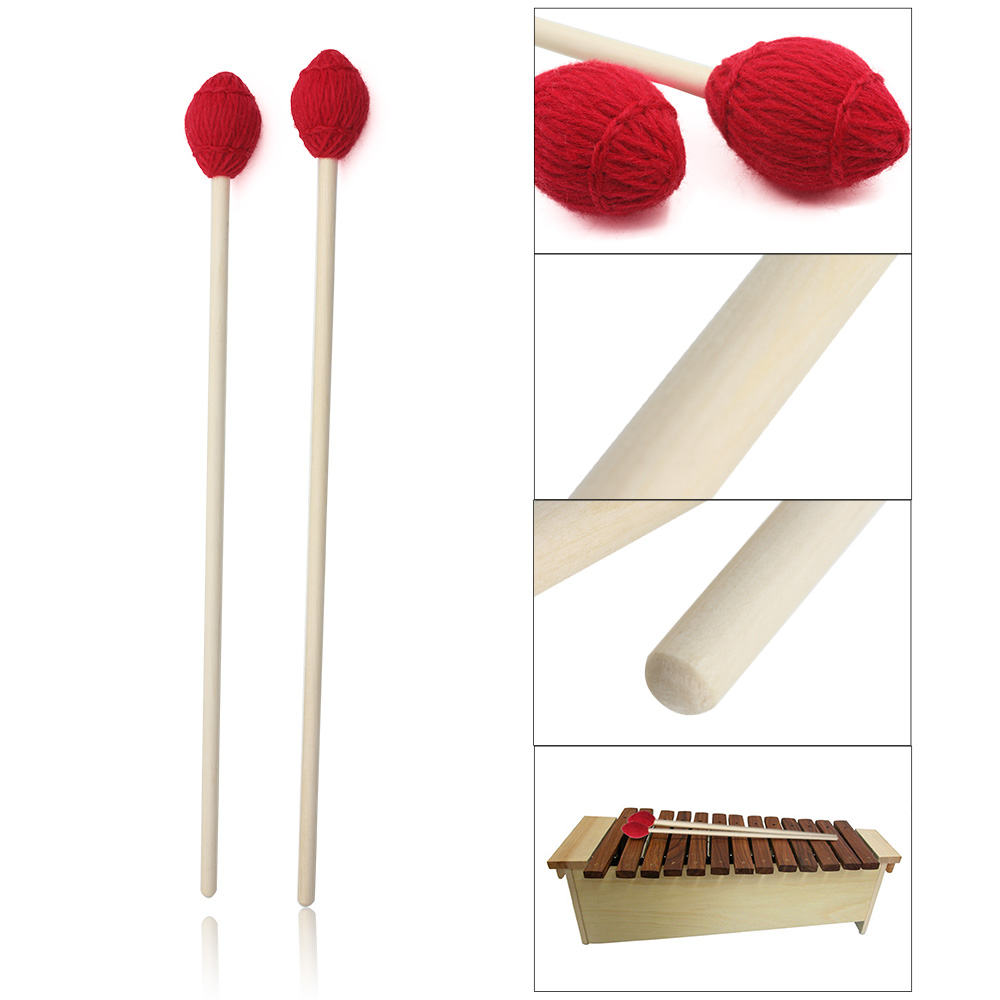 1 Pair 40cm Marimba Keyboard Mallet Maple Handle Red Head Musical Instrument Tool