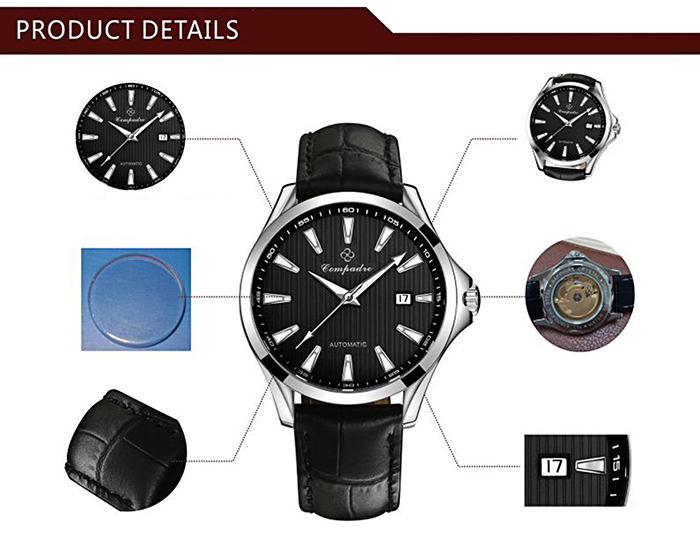 Compadre 8001 Male Automatic Mechanical Watch Date Luminous Hands