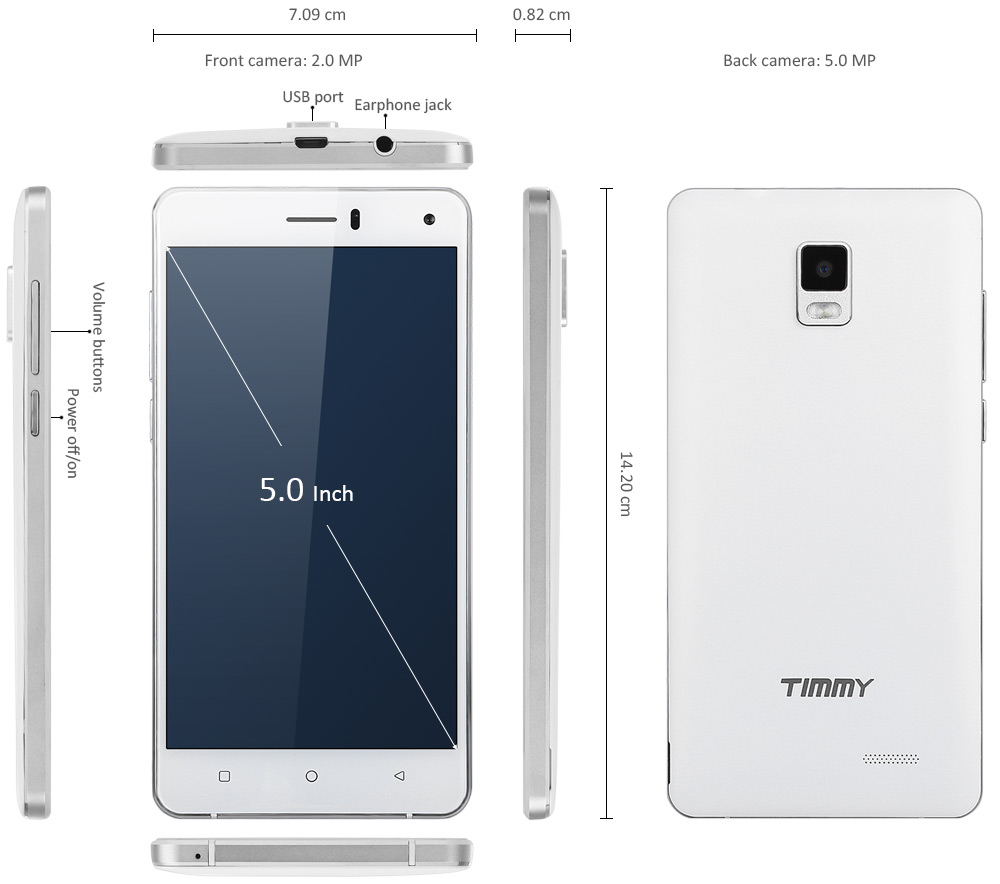 Timmy M13 Pro 5.0 inch 3G Smartphone Android 5.1 MTK6580 Quad Core 1.3GHz 2GB RAM 16GB ROM GPS WiFi Cameras Bluetooth 4.0