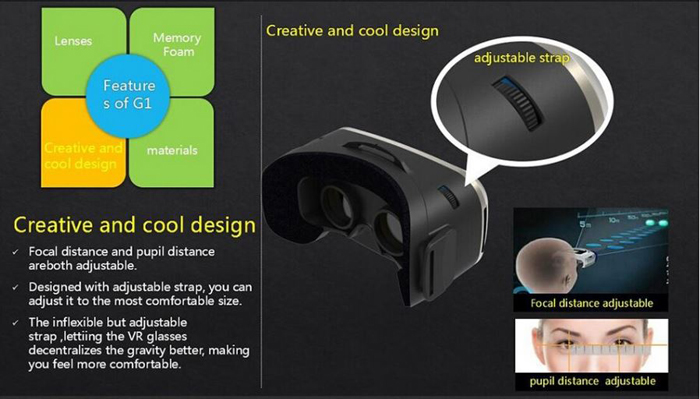 G1 Virtual Reality Glasses Case 3D Immersive 110 Degrees FOV for iOS / Android 3.5 - 6 inch Mobile Phones