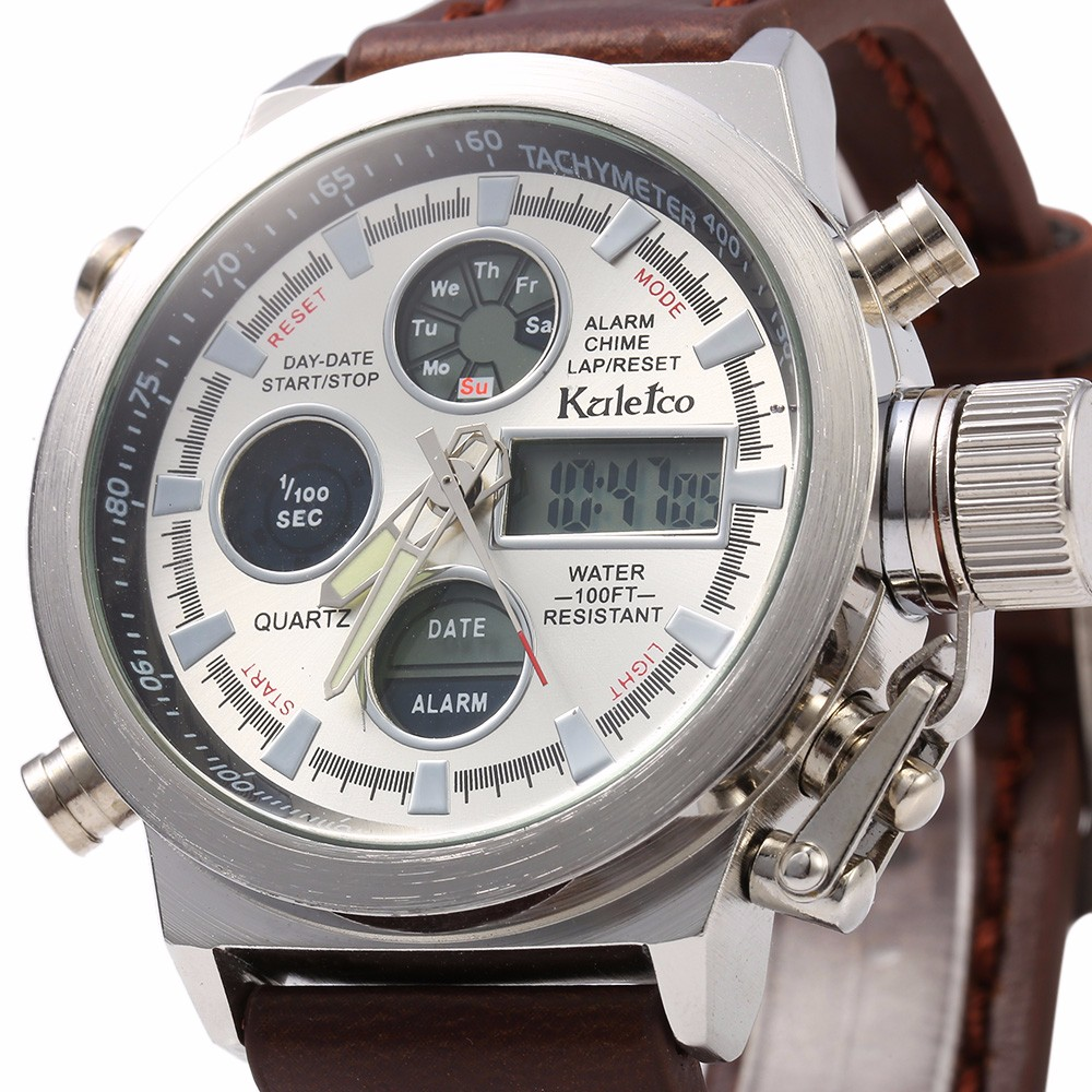 Kaletco 399A Dual Movt Day Date Display LED Sports Watch Water Resistance